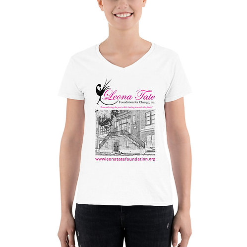 LTFC Women's Casual White V-Neck Shirt