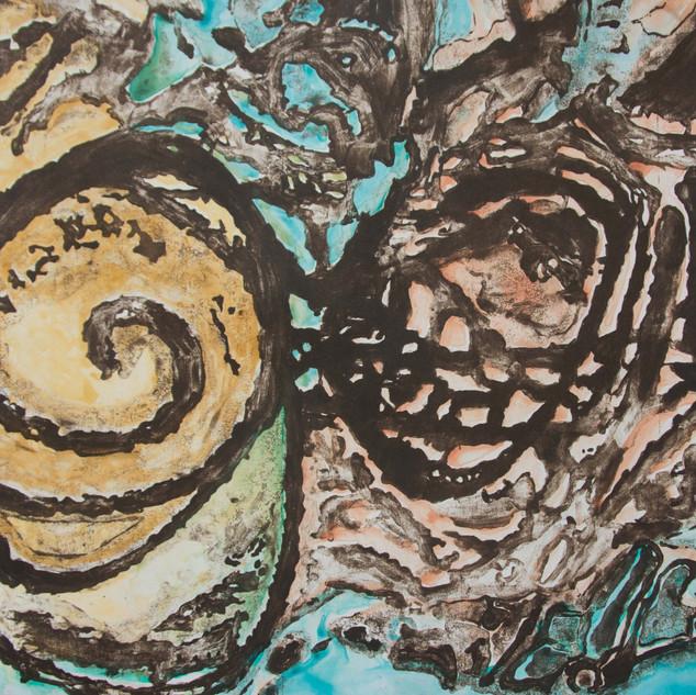 60 x 80 cm, Mokulito, Chine-collé, Aquarell Monotypie