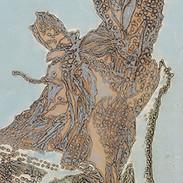 30 x 70 cm, Collagraphie, Chine-collé