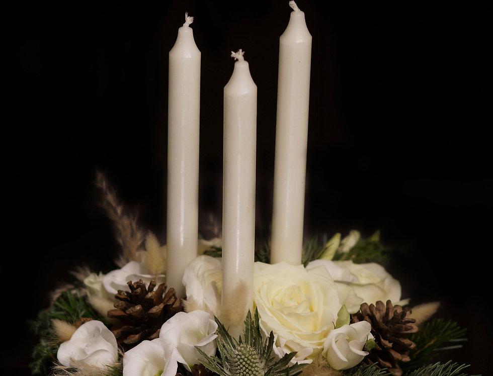 Blomstrande Ljusdekoration Vit