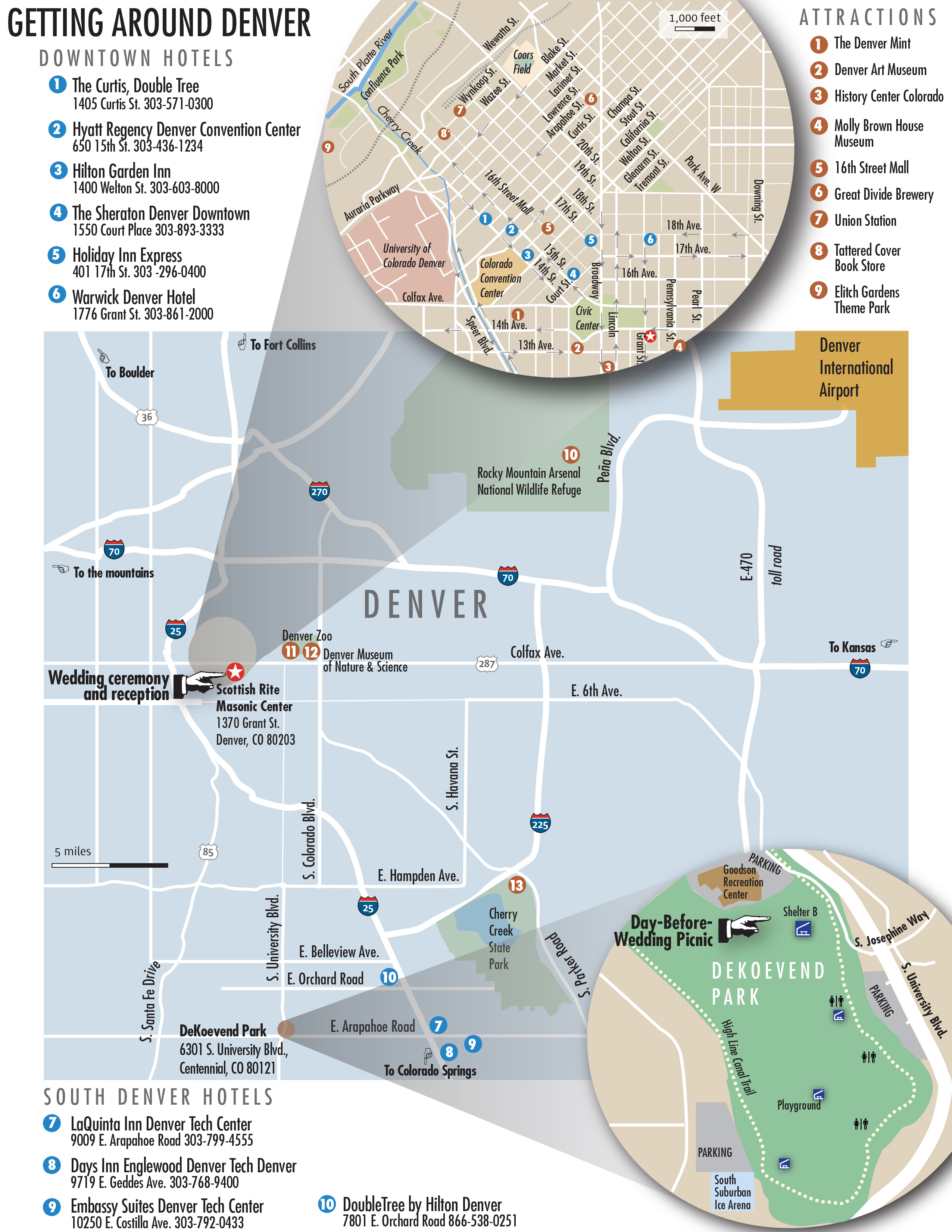 Detailed Denver map