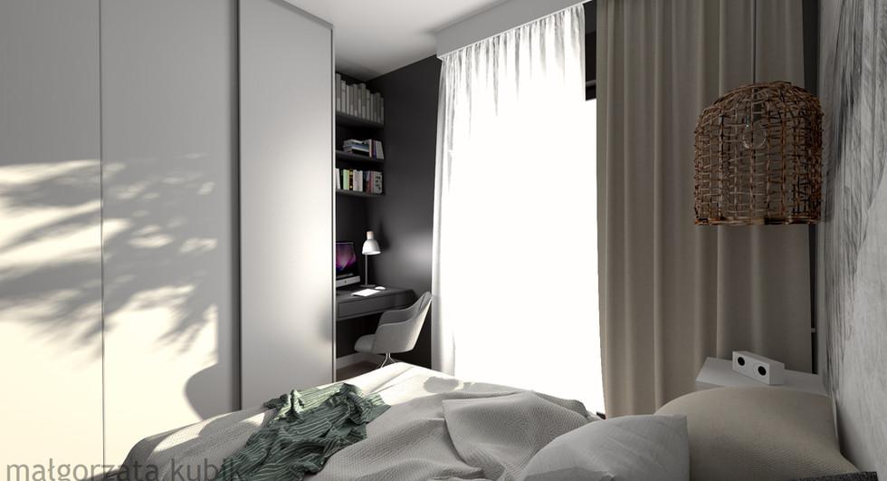 Sypialnia z tapetą