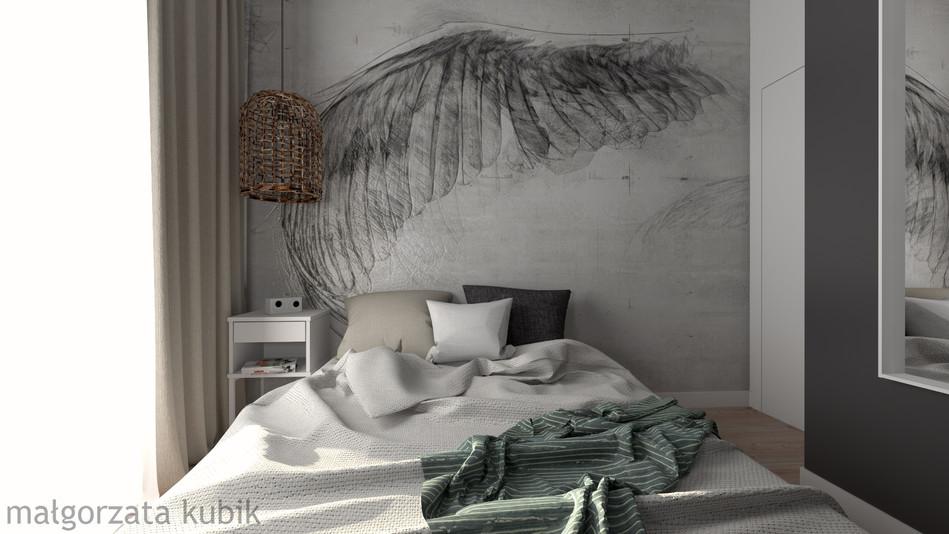 Sypialnia z cudowną tapetą