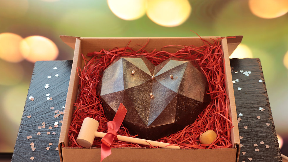 Smashable Belgian Chocolate Heart filled with Fudge and Chocolate