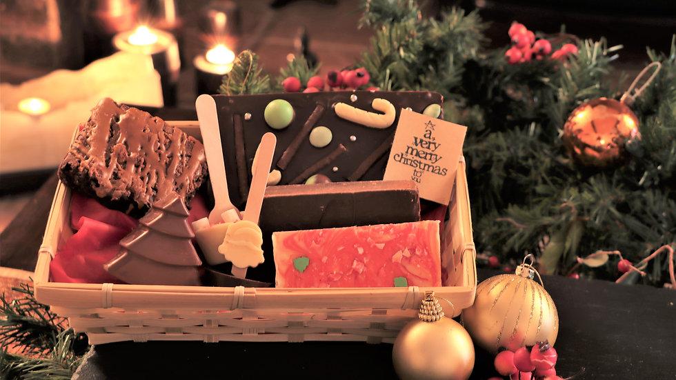 PRE-ORDER - Christmas Fudge & Chocolate Gift Hamper Basket