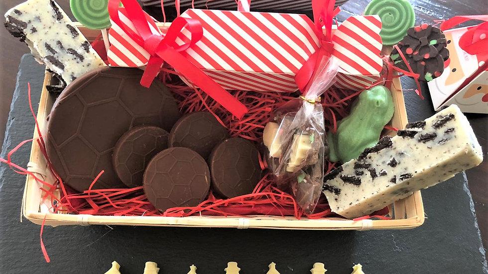 PRE-ORDER - Football Chocolate & Fudge Gift Hamper Basket