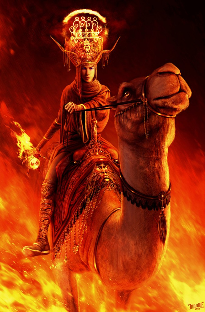 Paimon By Tanathe - features the demon king on his camel