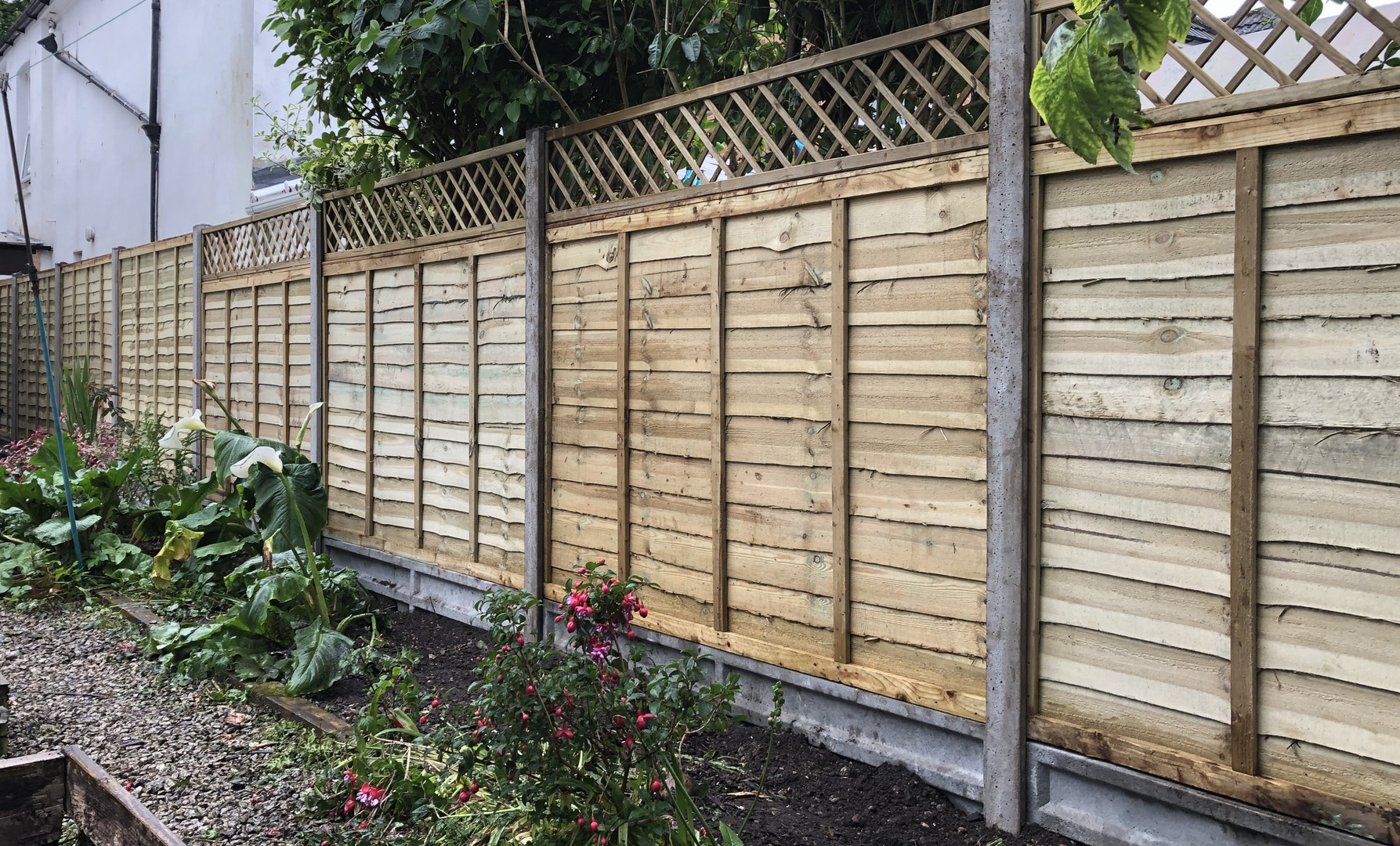 Timber panels and trellis.