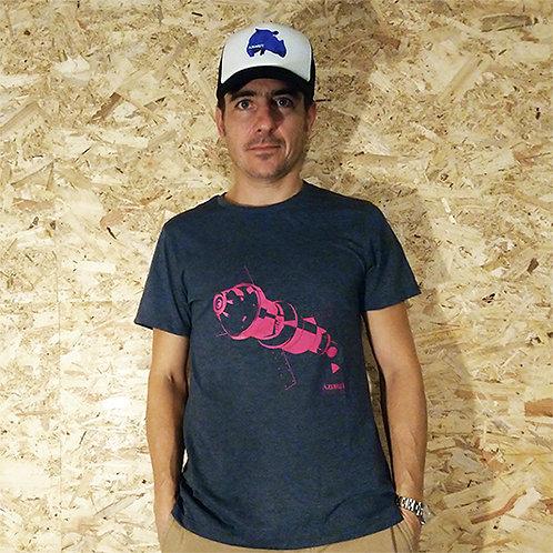 T-shirt espace - rose/gris foncé