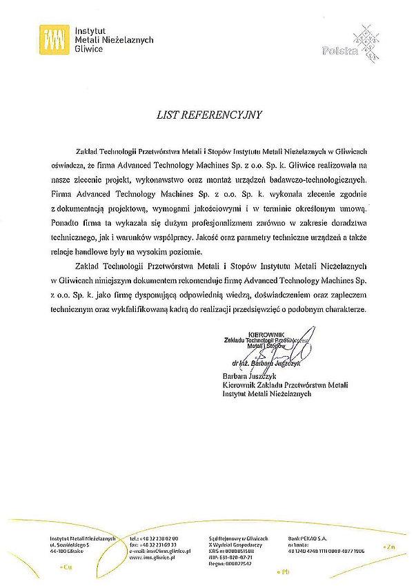 List referencyjny IMN Gliwice