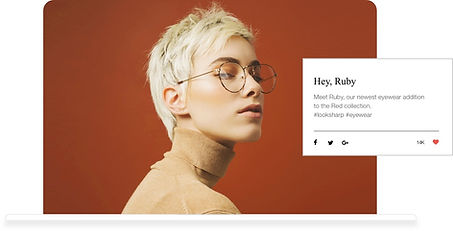 Wix blog with a portrait of a blonde woman in eyeglasses.
