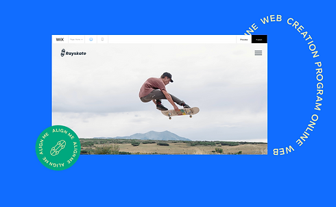 """A browser window showing a skateboarder jumping in the air with a note """"align me"""""""