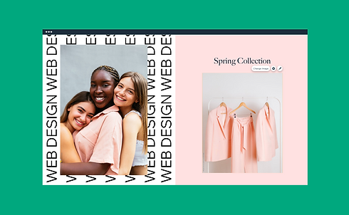 A Wix Editor window with the toolbar and color palette open showing a fashion website