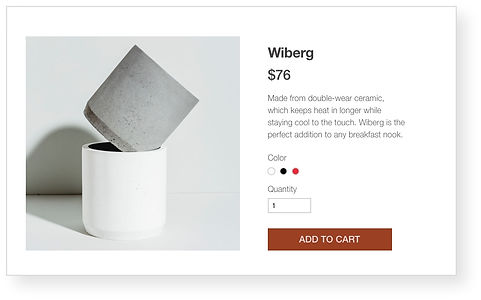 Wix online store for a ceramics store displaying a stack of small cups
