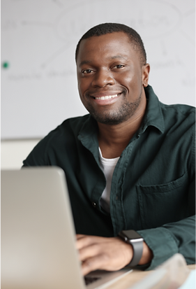 teacher with a laptop