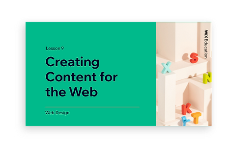Creating Content for the Web presentation