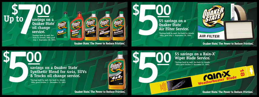 Quaker State Promotional Coupons