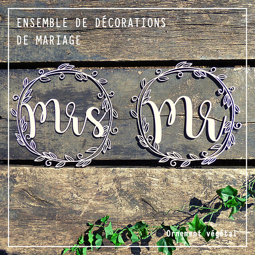 Mr & Mrs ensemble de décorations de mariage en bois