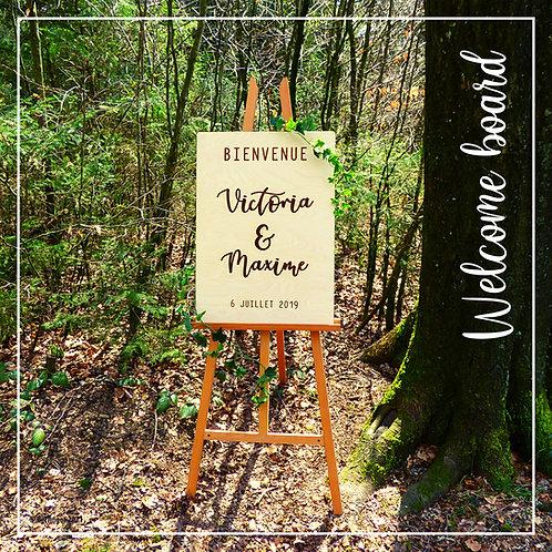 Welcome board en bois personnalisé