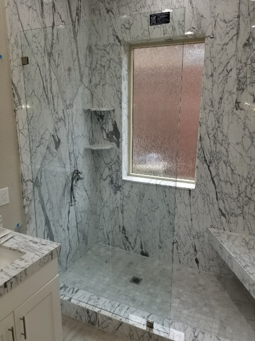 Three Eigths Inch Oversized Shower Stall with Chrome Clips
