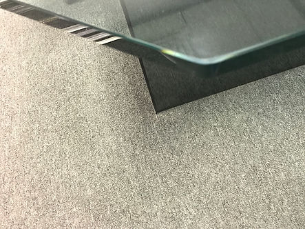 Custom three quarter inch octagon clear table top with a polished edge