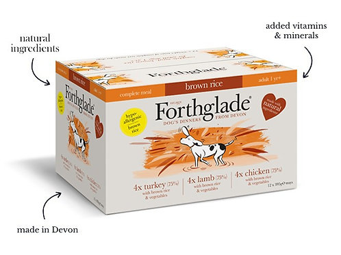 Forthglade Complete Adult Multicase 12 Pack (Lamb, Turkey, Chicken), 395G