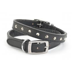 Ancol Leather Collar Studded Black, 28-36CM SIZE 3