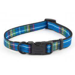 Ancol Adjustable Collar Tartan Blue, MED 30-50CM