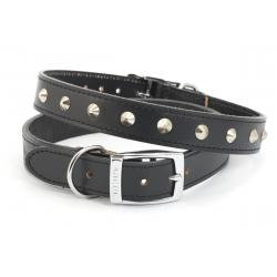 Ancol Leather Collar Studded Black, 50-59CM SIZE 7