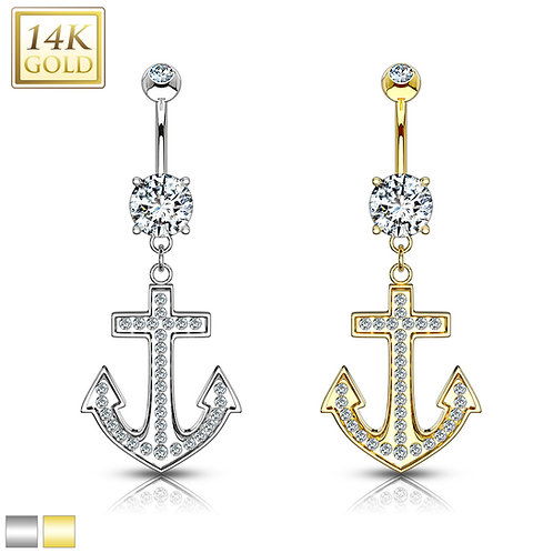 Anchor Dangle with Micro Paved CZ 14KT Gold Dangle Navel Ring