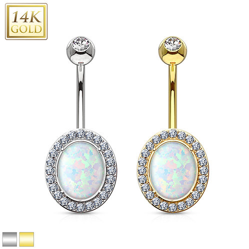Oval Opal Center with Clear CZ Solid 14KT White Gold  Navel Ring