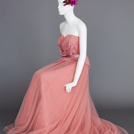 coral color gown