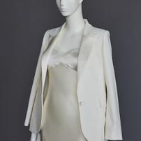 silk bias cut dress & bride white tuxedo