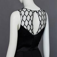 black coral color gown