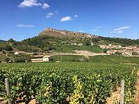 Roche de solutré, site emblématique de saône et loire. Site touristique de randonnée, escalade, balade, visite de vignoble. Village de solutré pouilly.