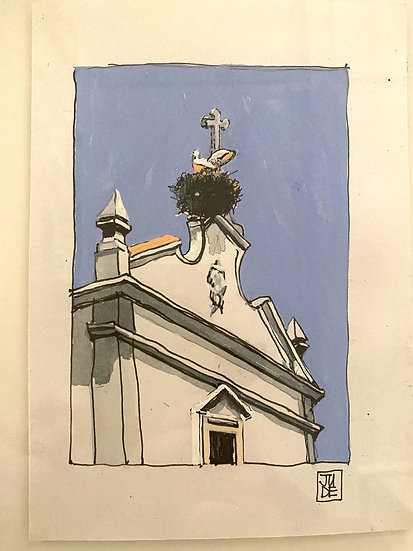 Stork and Church