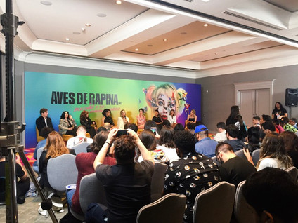 Elenco de Aves de Rapina em coletiva de imprensa em São Paulo