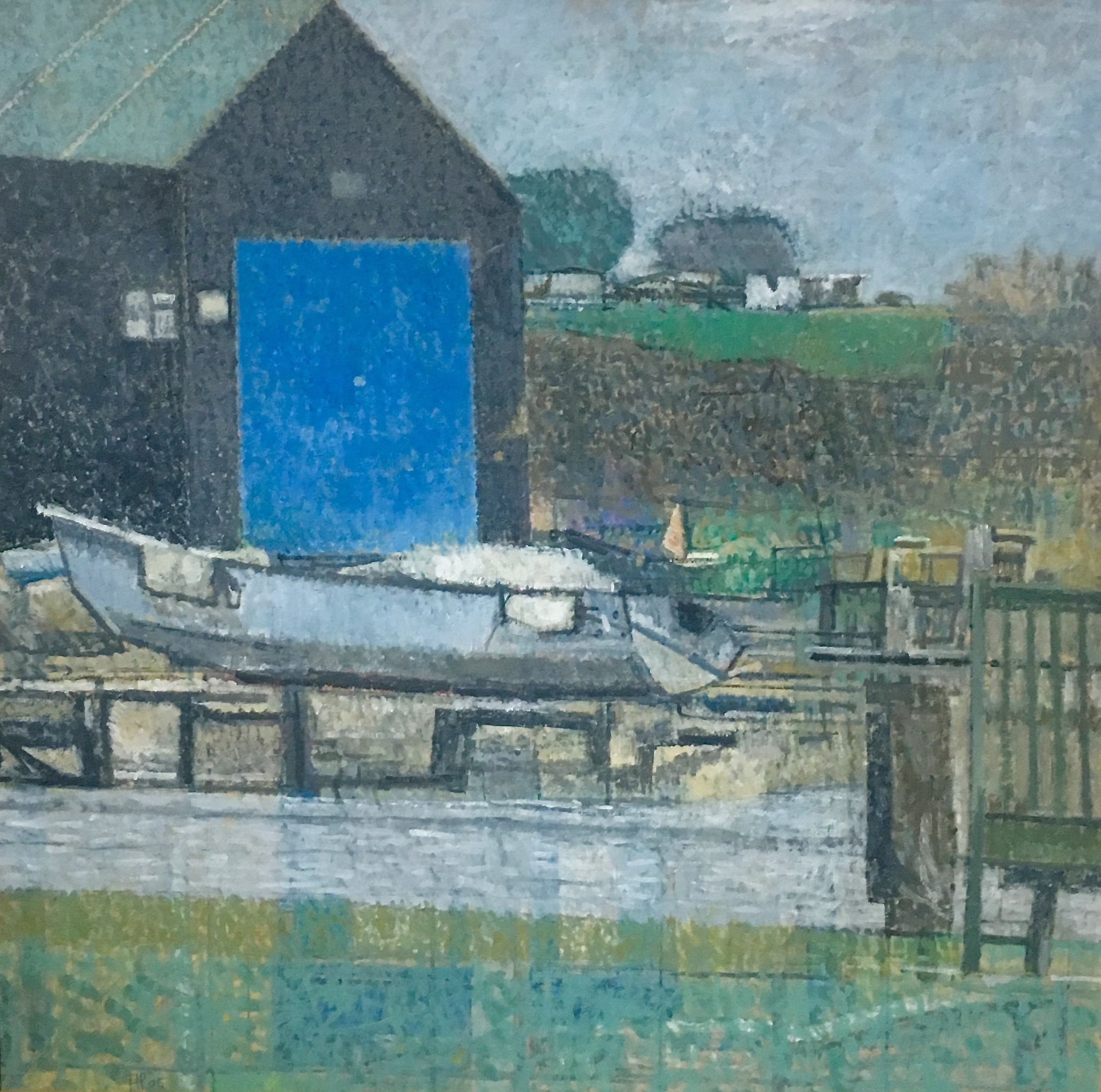 Andrew Pringle, Canoe Club Southwold 06, oil on board 19x19 ins