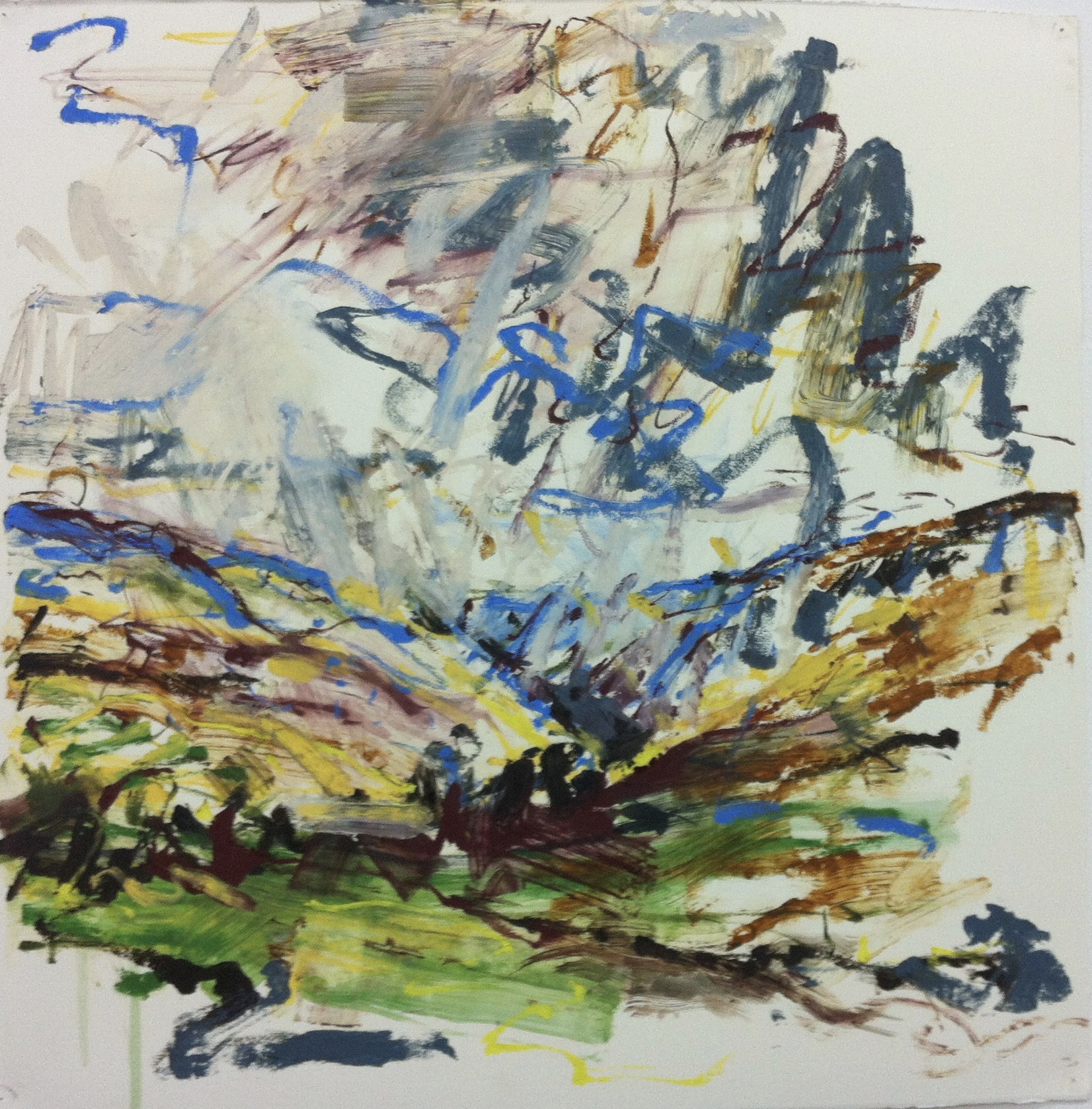 Kate Giles 'Unravelling.North of The Howgills'.oil stick on paper.55x55cm.
