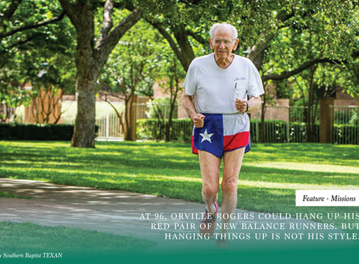At 96, Orville Rogers could hang up his New Balance runners. But hanging things up is not his style.