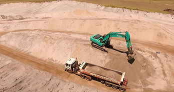 aerial drone photo of excavator and earthmoving