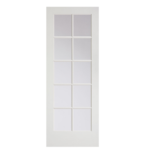 Primed MDF Interior French 10 Lite (1510) Door with Clear Glass