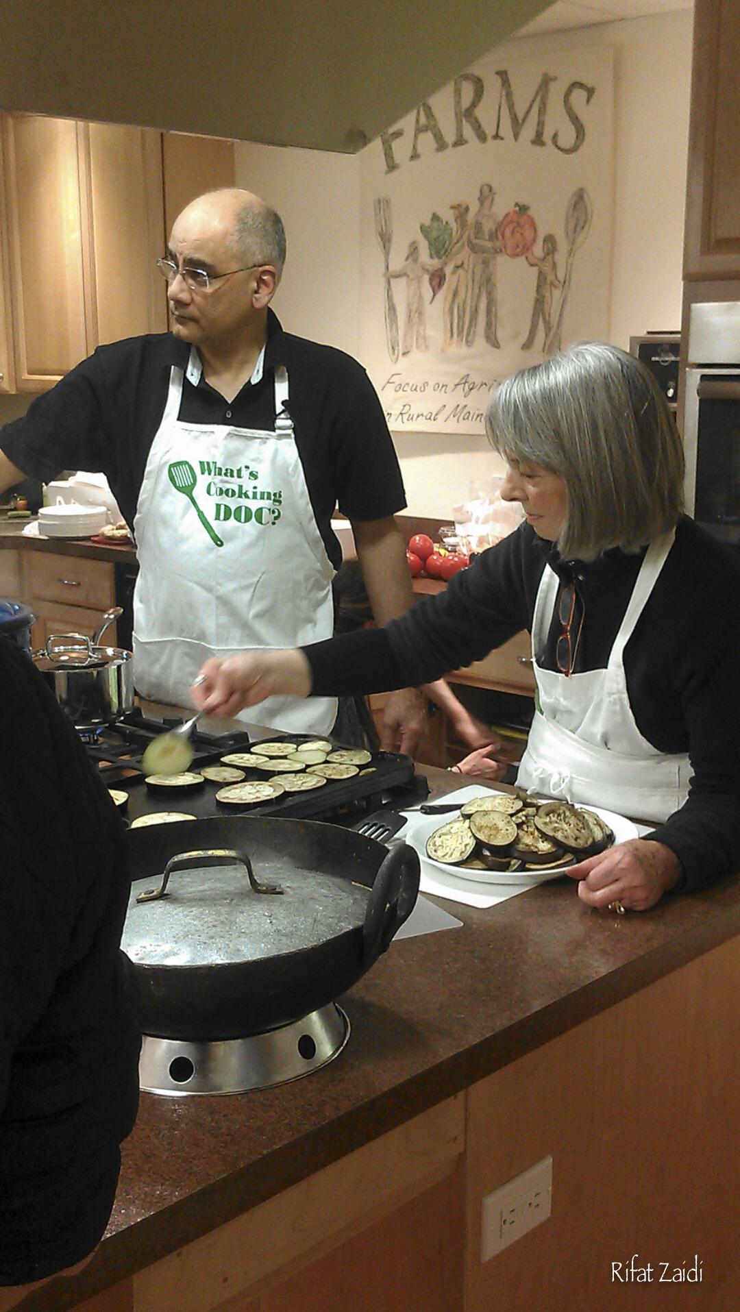 Roasting the eggplant slices