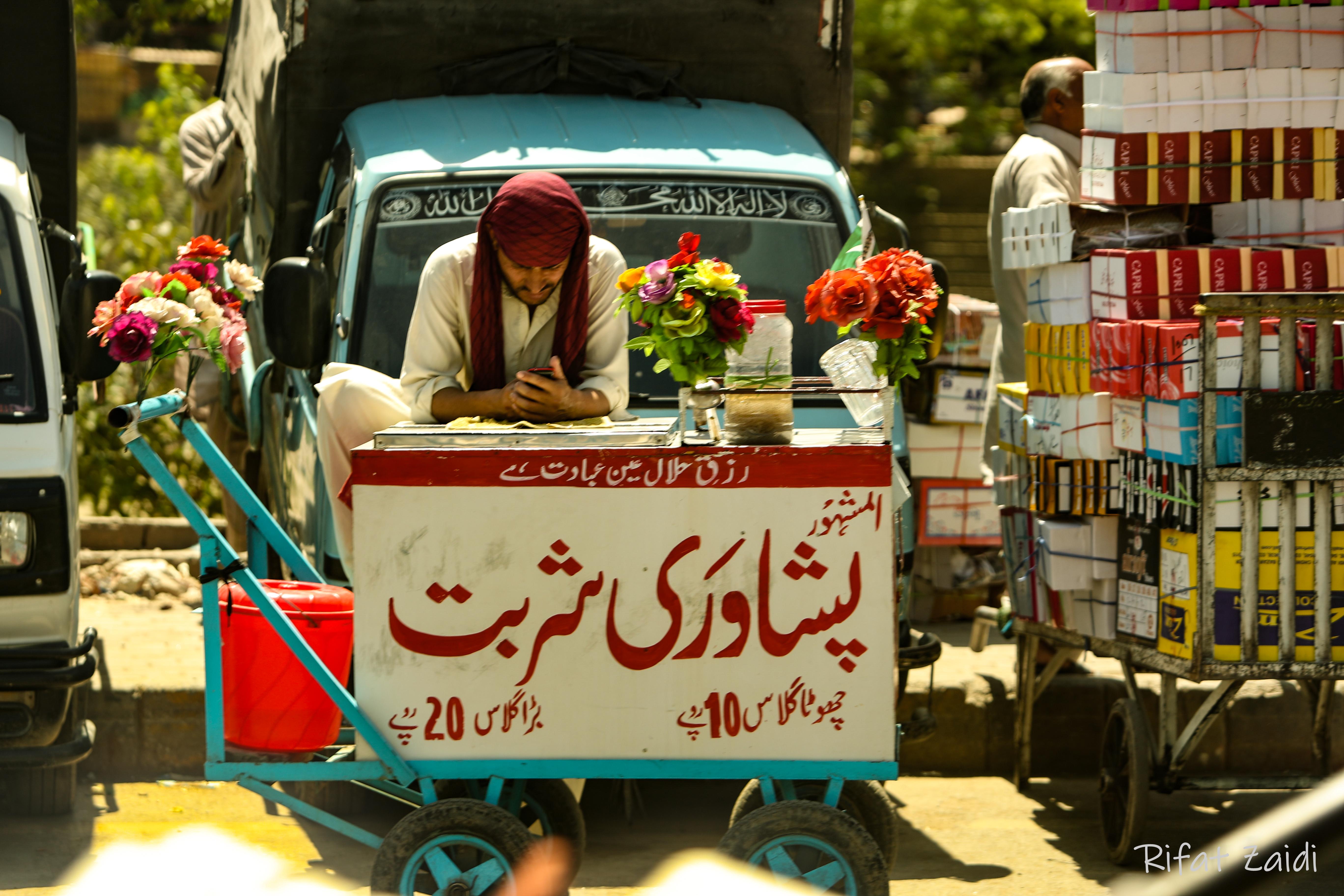 """hawking""""Peshawari Sherbet while surfing online"""