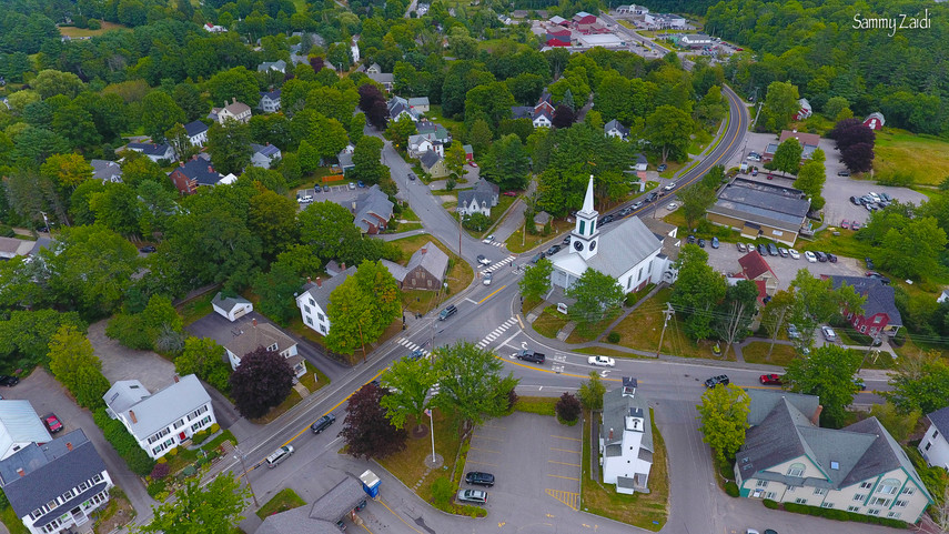 Drone view of Damariscotta, ME