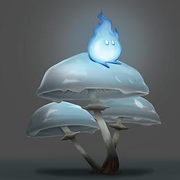 Wisp Sitting on Mushrooms