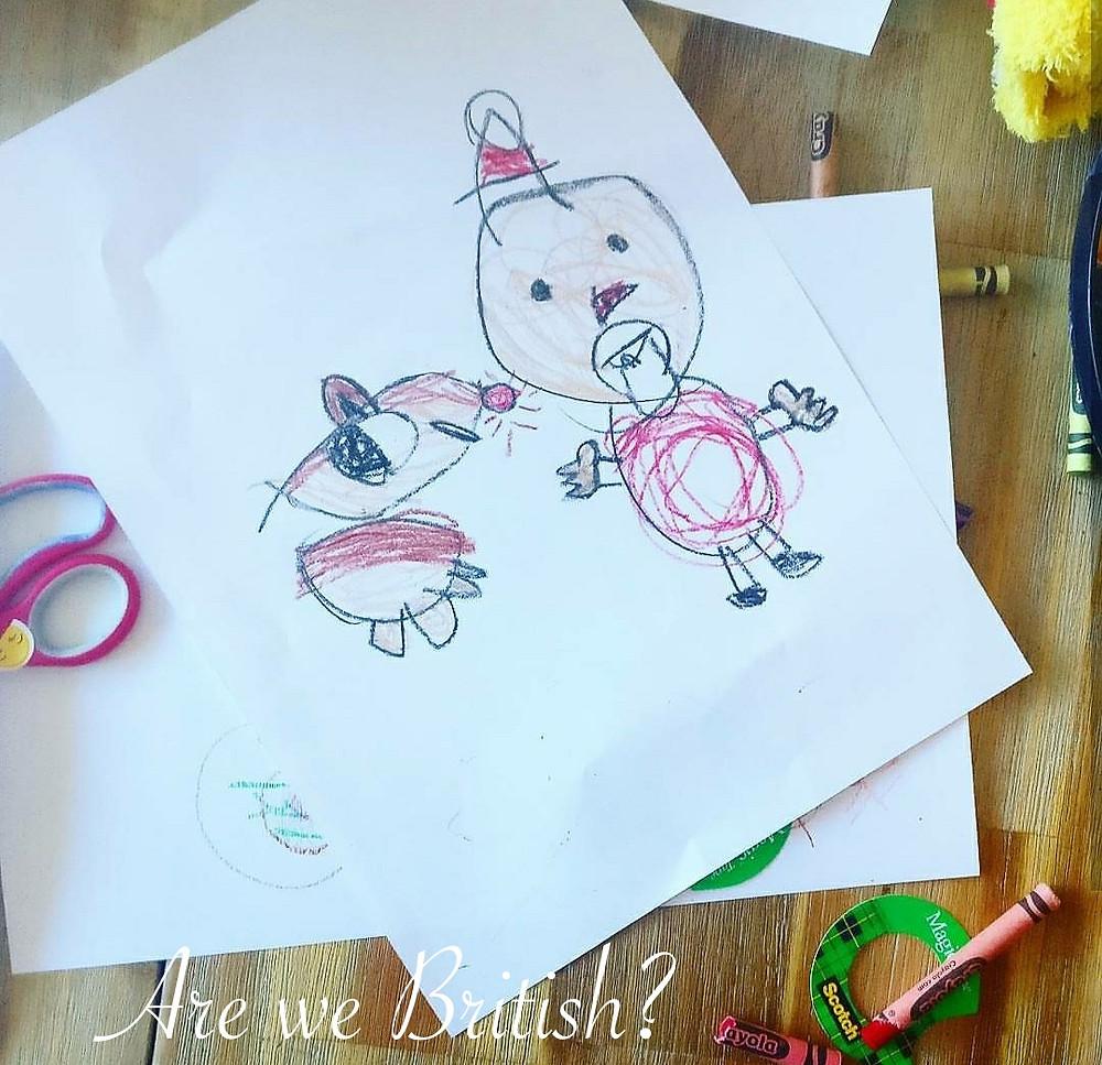 Rudolph and Santa. Drawn by Mr. G. Age 4 and precious.