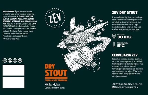 Cervejaria Zev lança Dry Stout com casca de tangerina