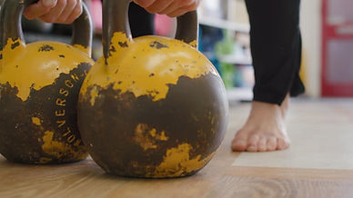 Russian competition kettlebells and barefeet