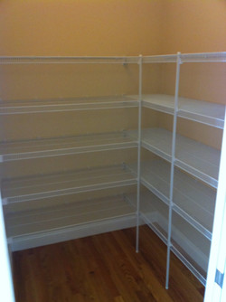 Wire Shelving in L Shaped Pantry
